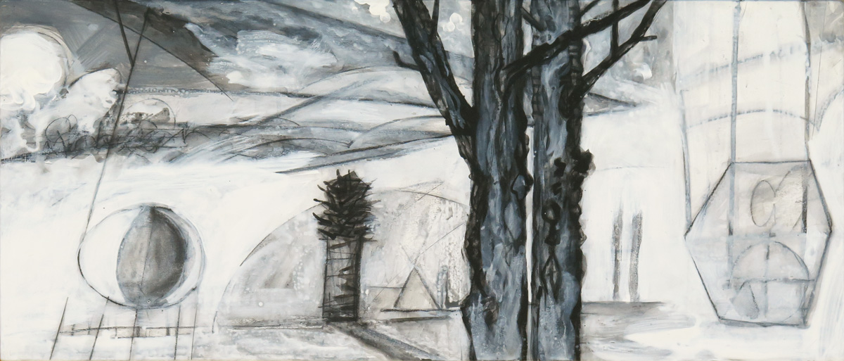 Terra Incognita (Colorless) No. 10, charcoal and gesso on panel, 18 x 42 (46 x 107 cm)