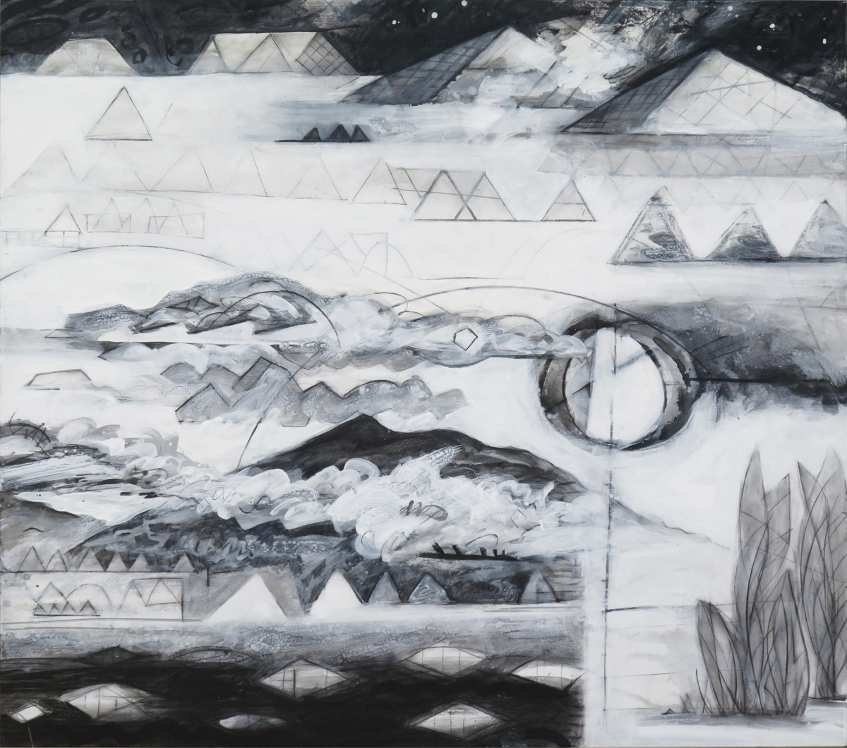 Terra Incognita (Colorless) No. 2, charcoal and gesso on panel, 48 x 54 (122 x 137 cm)