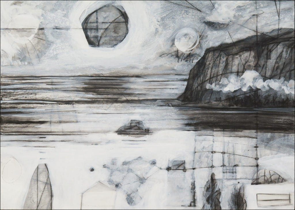 Terra Incognita (Colorless) No. 5, charcoal and gesso on panel, 30 x 42 (76 x 107 cm)