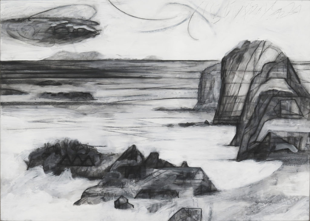 Terra Incognita (Colorless) No. 6, charcoal and gesso on panel, 30 x 42 (76 x 107 cm)