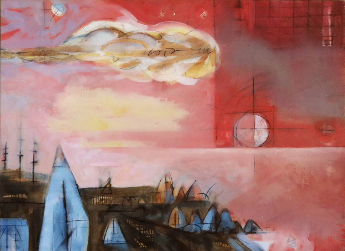 Troposphere No. 7—Vermilion Sky, oil on canvas, 48 x 66 inches (122 x 168 cm)